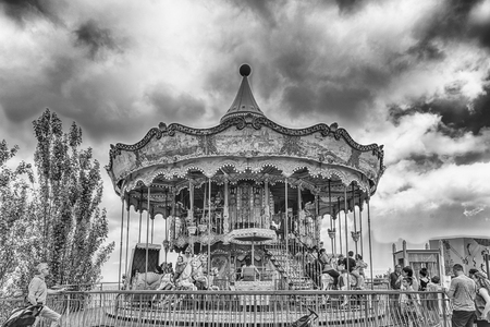 play the old park: BARCELONA - AUGUST 12: Vintage carousel at Tibidabo Amusement Park, Barcelona, Catalonia, Spain on August 12, 2017. The park opened in 1905 and is among the oldest in the world still functioning