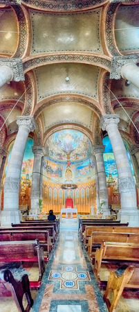 sagrat cor: BARCELONA - AUGUST 12: Panoramic view of the crypt of the Expiatory Church of the Sacred Heart of Jesus, church located on Mount Tibidabo in Barcelona, Catalonia, Spain, on August 12, 2017 Editorial