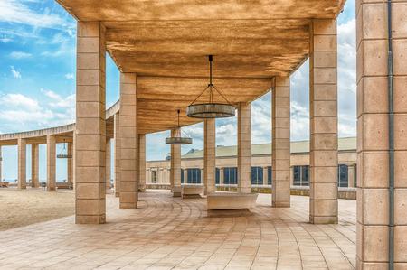 BARCELONA - 11 augustus: De schilderachtige en essentiële architectuur van het Olympisch park op de heuvel Montjuic, Barcelona, Catalonië, Spanje, op 11 augustus 2017
