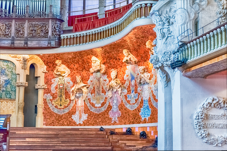 BARCELONA - AUGUST 8: Interior decorations of Palau de la Musica Catalana, modernist Concert Hall designed by the architect Lluis Domenech i Montaner in Barcelona, Catalonia, Spain, on August 8, 2017