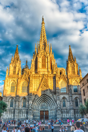 holy night: BARCELONA - AUGUST 10: Facade of the gothic Cathedral of the Holy Cross and Saint Eulalia, aka Barcelona Cathedral, Catalonia, Spain, on August 10, 2017