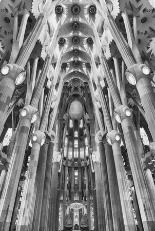 BARCELONA AUGUST 9 Interior Design Of The Sagrada Familia