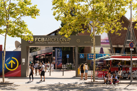 BARCELONA - AUGUST 11: Welcome signboard at the entrance gate of the Camp Nou Experience Tour and Museum at the stadium of FC Barcelona, Catalonia, Spain, on August 11, 2017