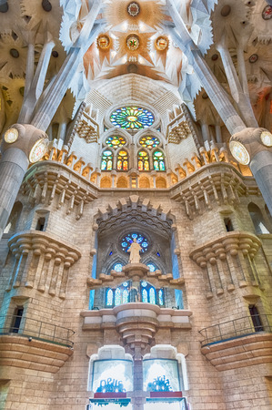 BARCELONA AUGUST 9 Vertical Panorama Inside The Sagrada Familia