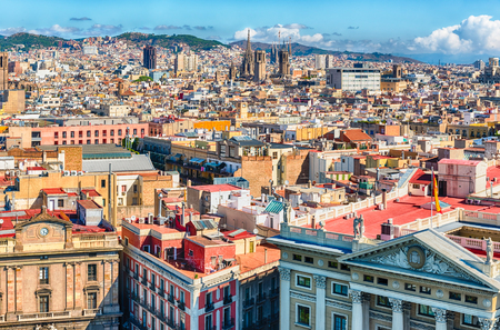Scenic aerial view of the Gothic Quarter from the top of Columbus Monument, Barcelona, Catalonia, Spain