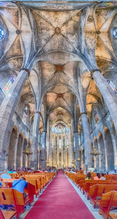 BARCELONA - AUGUST 10: Vertical panorama inside the gothic church of Santa Maria del Mar in the Ribera district of Barcelona, Catalonia, Spain, on August 10, 2017