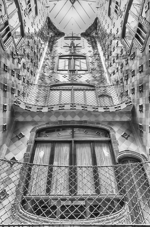 BARCELONA - AUGUST 9: Iconic lightwell inside Casa Batllo, renowned building designed by Antoni Gaudi and iconic landmark in Barcelona, Catalonia, Spain, on August 9, 2017 Editorial