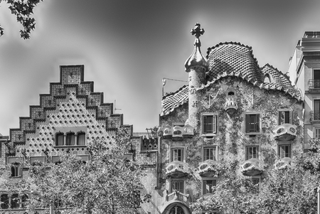 BARCELONA - AUGUST 9: Rooftops of the modernist masterpieces Casa Batllo and Casa Amatller, iconic landmarks in Passeig de Gracia, Eixample district of Barcelona, Catalonia, Spain, on August 9, 2017