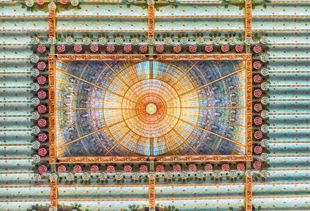 BARCELONA - AUGUST 8: Stained-glass skylight of Palau de la Musica Catalana, modernist Concert Hall designed by the architect Lluis Domenech i Montaner in Barcelona, Catalonia, Spain, August 8, 2017