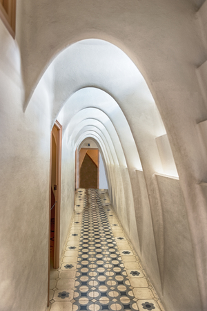 BARCELONA - AUGUST 9: Catenary arcs in the penthouse of Casa Batllo, renowned building designed by Antoni Gaudi and iconic landmark in Barcelona, Catalonia, Spain, on August 9, 2017 Editorial