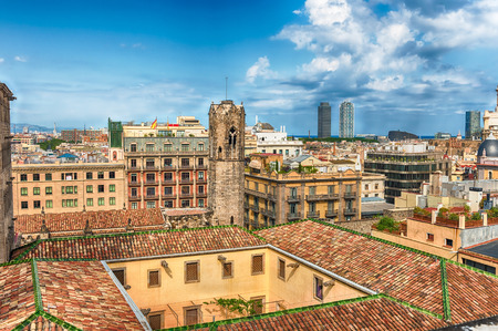 Panoramic aerial view from the top of the gothic Cathedral of the Holy Cross and Saint Eulalia, aka Barcelona Cathedral, Catalonia, Spain Banque d'images