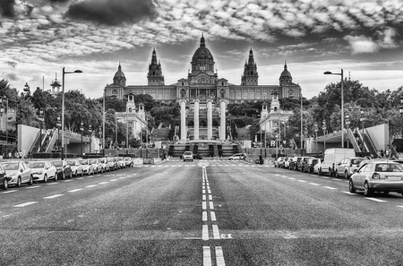 montjuic: Facade of the National Art Museum of Catalonia, commonly abbreviated as MNAC, scenic landmark in Barcelona, Catalonia, Spain
