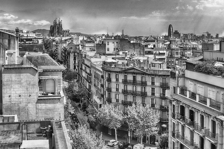 Aerial view over the rooftops of the Eixample district in Barcelona, Catalonia, Spain