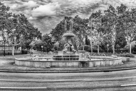 Scenic fountain in Plaza de Sant Jordi on Montjuic hill, Barcelona, Catalonia, Spain