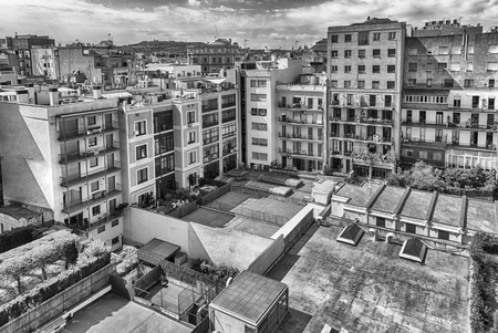 Aerial view over an inner courtyard in the Eixample district, Barcelona, Catalonia, Spain