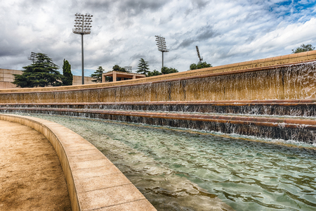 BARCELONA - AUGUST 11: Detail of a scenic fountain at the Olympic Park of Montjuic hill, Barcelona, Catalonia, Spain, on August 11, 2017
