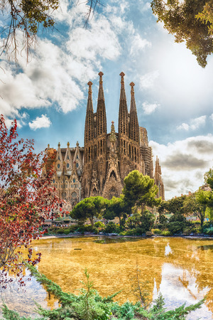 BARCELONA - AUGUST 9: View of the Sagrada Familia, iconic landmark in Barcelona, Catalonia, Spain, on August 9, 2017. Designed by Gaudi and estimated to be completed by 2028. Cranes digitally removed