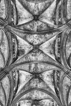 BARCELONA - AUGUST 8: Interior of the gothic Cathedral of the Holy Cross and Saint Eulalia, aka Barcelona Cathedral, Catalonia, Spain, on August 8, 2017
