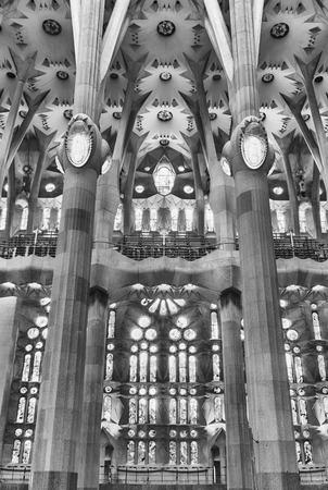 BARCELONA - AUGUST 9: Interior design of the Sagrada Familia, the most iconic landmark designed by Antoni Gaudi in Barcelona, Catalonia, Spain, on August 9, 2017