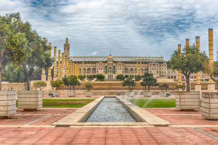montjuic: BARCELONA - AUGUST 11: The scenic and essential architecture of the Olympic Park on Montjuic hill, Barcelona, Catalonia, Spain, on August 11, 2017
