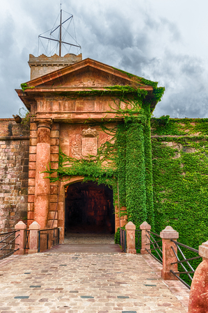Main entrance to the Castle of Montjuic, an old military fortress in Barcelona, Catalonia, Spain