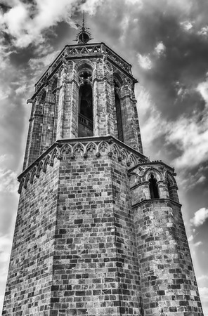 Tower on the top of the gothic Cathedral of the Holy Cross and Saint Eulalia, aka Barcelona Cathedral, Catalonia, Spain