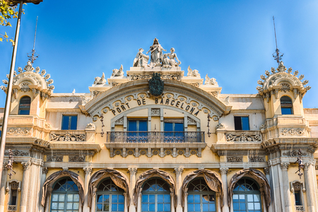 Facade of the Port Authority building, located at the lower end of La Rambla in Barcelona, Catalonia, Spain