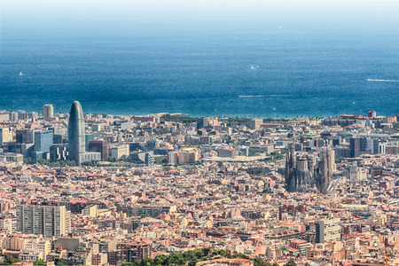 Scenic aerial view from Tibidabo mountain over the city of Barcelona, Catalonia, Spain Banque d'images