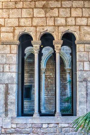 Medieval window, gothic architecture in La Ribera district of Barcelona, Catalonia, Spain