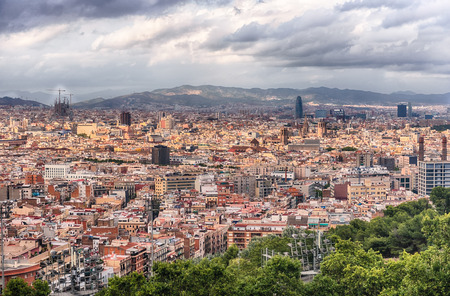 Scenic aerial view with the cityscape of central Barcelona, as seen from Montjuic cable car, Barcelona, Catalonia, Spain