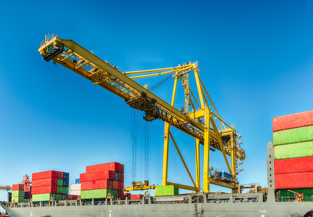 Container crane for loading and unloading container ships at the commercial port of Barcelona, Catalonia, Spain