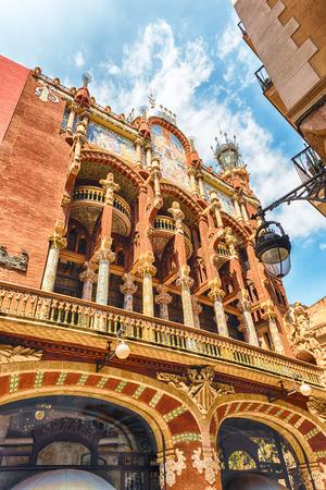 Exterior of Palau de la Musica Catalana, modernist Concert Hall in Barcelona, Catalonia, Spain Editorial