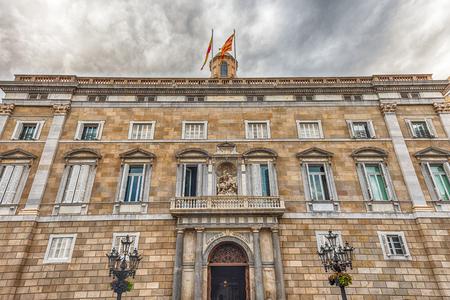 Facade of Palau de la Generalitat de Catalunya in Plaza Sant Jaume, Gothic Quarter of Barcelona, Catalonia, Spain