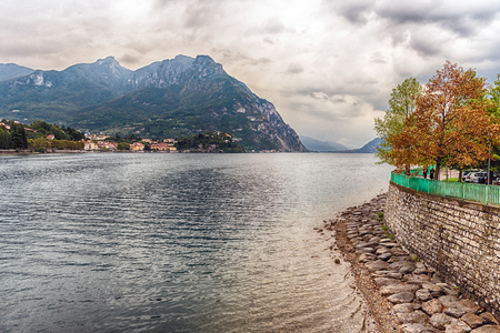 Scenic view over the Adda river in the city of Lecco, Lombardy, Italy