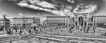 MILAN - SEPTEMBER 11: Panoramic view of Piazza Duomo, with the Galleria Vittorio Emanuele II, iconic landmark of Milan, Italy, on September 11, 2017. Editorial