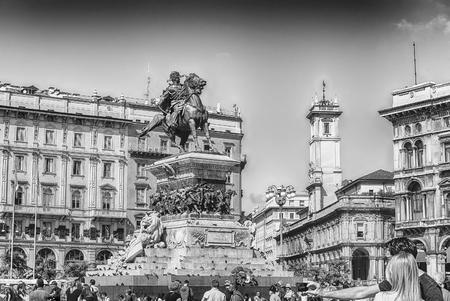 MILAN - SEPTEMBER 11: Monument to King Victor Emmanuel II, Piazza Duomo, Milan, Italy, on September 11, 2017.