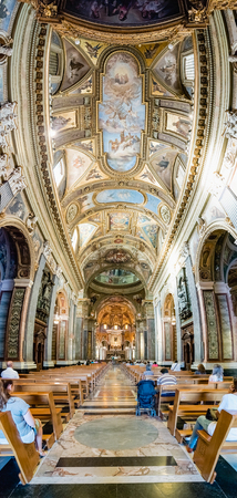POMPEI, ITALY - JULY 16: Panoramic view inside the Shrine of Our Lady of the Rosary of Pompei, Italy, on July 16, 2017. The Church is a popular destination for pilgrims in recent years