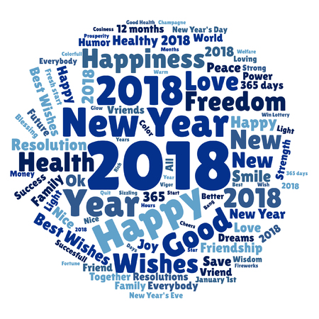 Round shaped cloud with typographic word multicolored collage on a white background. Concept for New Year's 2018 Celebrations