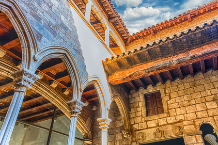 BARCELONA - AUGUST 12: Inner courtyard of Museu Picasso in Barcelona, Catalonia, Spain, on August 12, 2017. Located in La Ribera district, it hosts the widest collections of artworks by Pablo Picasso