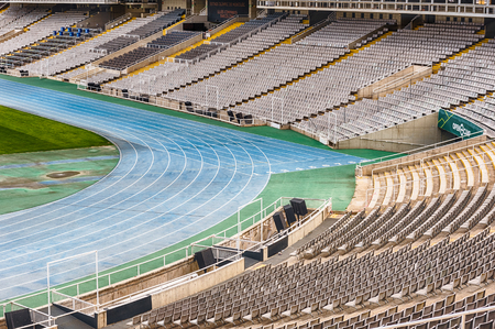 BARCELONA - AUGUST 11: Interior view of the Olympic stadium Lluis Companys, in the Olympic Ring complex located on Montjuic hill, Barcelona, Catalonia, Spain, as seen on August 11, 2017 에디토리얼