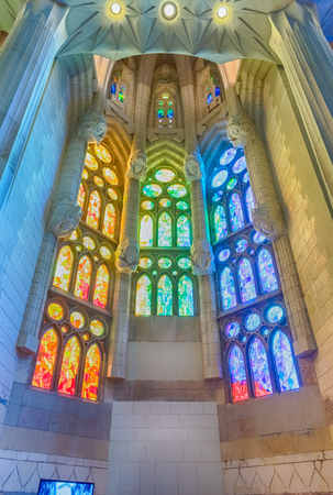 BARCELONA - AUGUST 9: Interior design of the Sagrada Familia, the most iconic landmark designed by Antoni Gaudi in Barcelona, Catalonia, Spain, on August 9, 2017