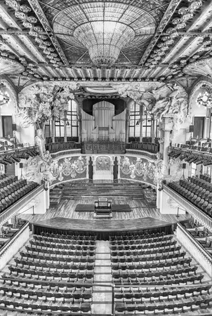 BARCELONA - AUGUST 8: Interior of Palau de la Musica Catalana, modernist Concert Hall designed by the architect Lluis Domenech i Montaner in Barcelona, Catalonia, Spain, on August 8, 2017 Editorial