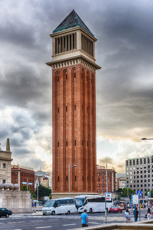 One of the Venetian Towers on Avinguda de la Reina Maria Christina, Barcelona, Catalonia, Spain. Built between 1927 and 1929, the towers are modeled on Bell Tower of St. Mark Basilica in Venice Éditoriale