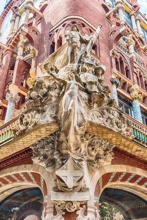 Sculptural group on the corner of the Palau de la Musica Catalana, modernist Concert Hall  in Barcelona, Catalonia, Spain