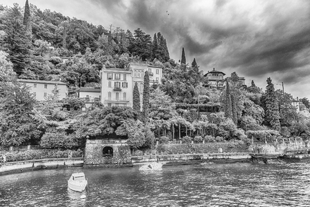 Scenic view of the picturesque village of Varenna on the eastern shore of Lake Como, Italy