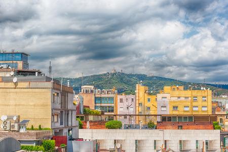 Vue aérienne sur les toits du quartier de l'Eixample à Barcelone, Catalogne, Espagne Banque d'images