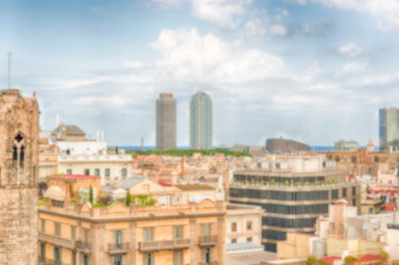 Defocused background with aerial view of Barcelona, Catalonia, Spain. Intentionally blurred post production for bokeh effect