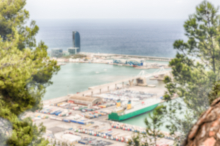 Defocused background of the Port of Barcelona, Catalonia, Spain. Intentionally blurred post production for bokeh effect