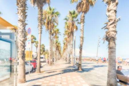 Defocused background of the Barceloneta beach, Barcelona, Catalonia, Spain. Intentionally blurred post production for bokeh effect Stock Photo