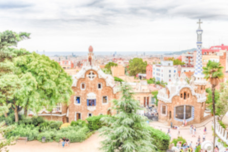 Defocused background with Park Guell, Barcelona, Catalonia, Spain. Intentionally blurred post production for bokeh effect Banque d'images